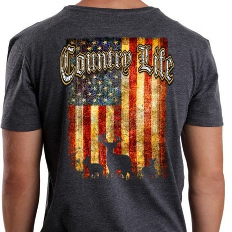 Country Life Outfitters Vintage USA Flag Deer Unisex T-Shirt - SimplyCuteTees