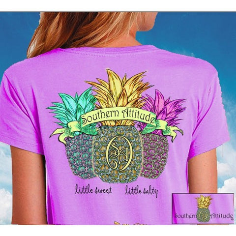 Sale Southern Attitude Preppy Triple Pineapple T-Shirt