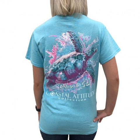 Southern Attitude Preppy Watercolor Turtle T-Shirt