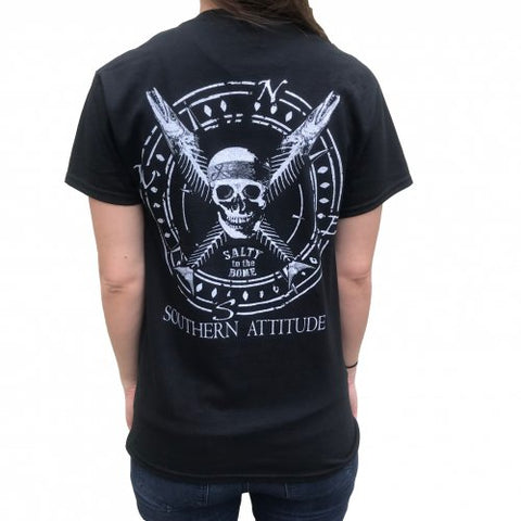 Southern Attitude Salty To The Bone Skull Black Unisex T-Shirt