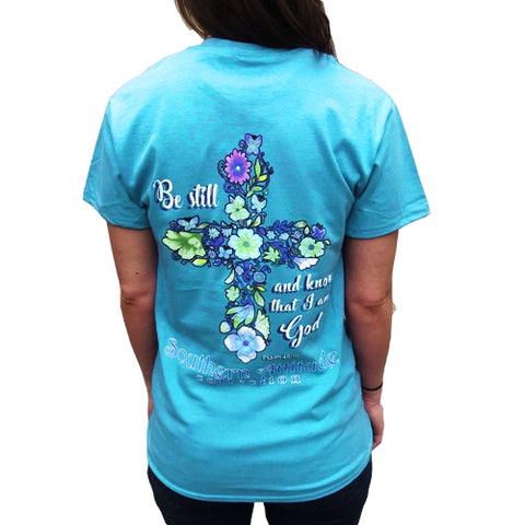 Southern Attitude Flower Cross Faith Blue T-Shirt
