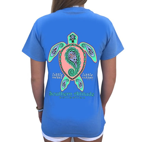 Southern Attitude Preppy Paisley Turtle Light Carolina Blue T-Shirt