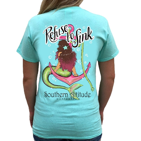 Southern Attitude Preppy Refuse To Sink Mermaid T-Shirt