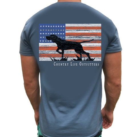 Country Life Outfitters Vintage USA Flag Dog Unisex T-Shirt