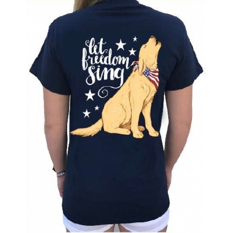 Southern Attitude Preppy Freedom Sing USA Dog T-Shirt