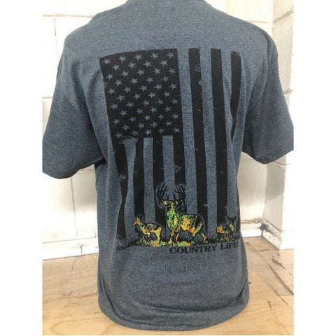 Country Life Outfitters USA Flag Camo Deer Unisex T-Shirt