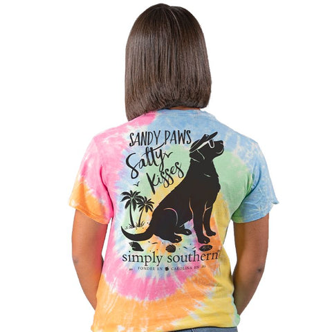 Simply Southern Preppy Sandy Paws & Salty Kisses Dog Tie Dye T-Shirt