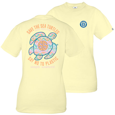 Simply Southern Preppy Save The Turtles Aztec Turtle T-Shirt