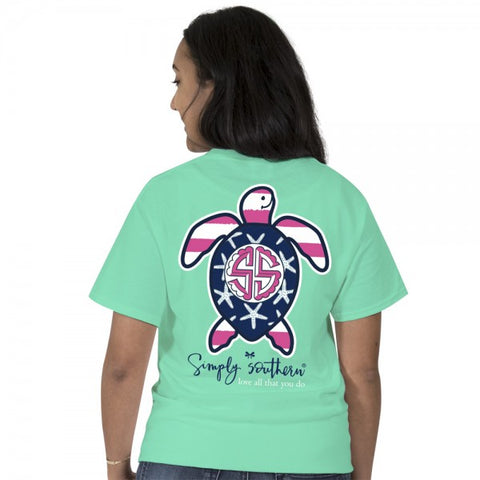 Simply Southern Preppy USA Flag Save The Turtles Collection T-Shirt