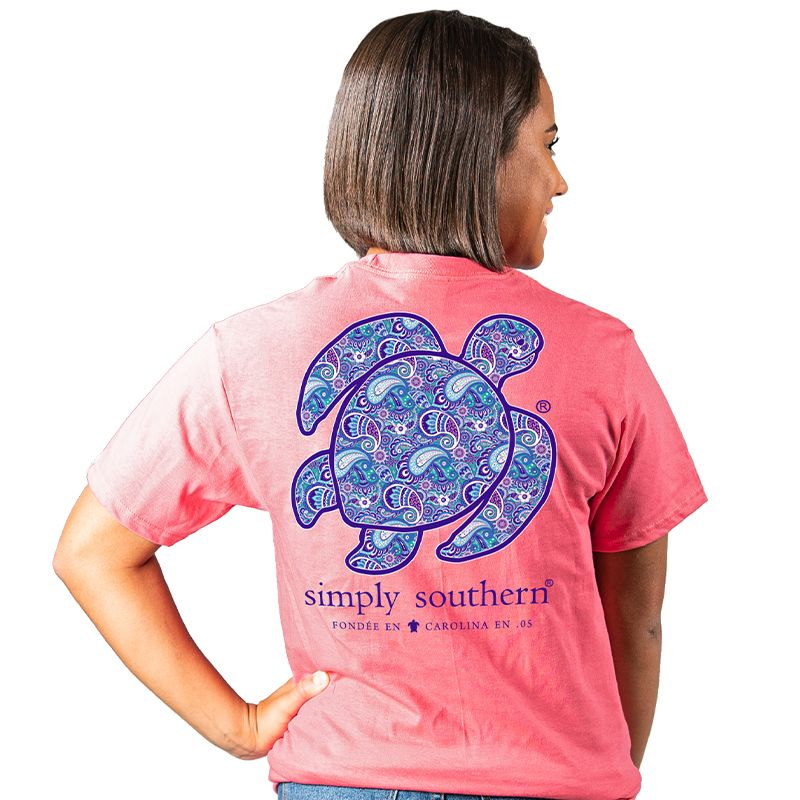 Simply Southern Preppy Save The Turtles Paisley Turtle T-Shirt