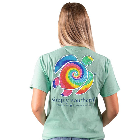 Simply Southern Preppy Save The Turtles Tie Dye Turtle T-Shirt