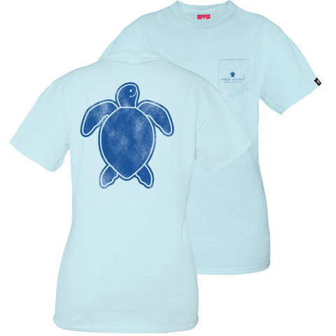 Simply Southern Preppy Washed Logo Ice Blue Save The Turtles Collection T-Shirt