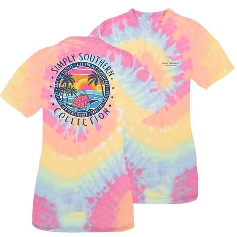 Simply Southern Preppy Save The Turtles Plastic Free Tie Dye Turtle T-Shirt