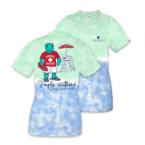 Sale Simply Southern Preppy Turtle Rescue Tie Dye Save The Turtles Collection T-Shirt