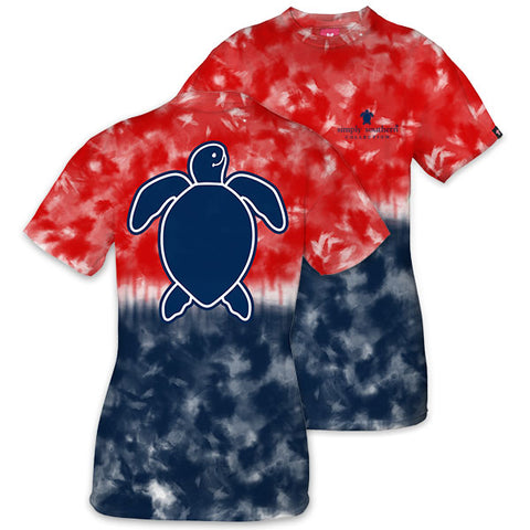 Simply Southern Preppy Washed Logo America Tie Dye Save The Turtles Collection T-Shirt