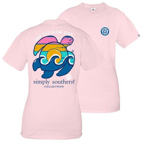 Simply Southern Preppy Save The Turtles Waves Turtle T-Shirt