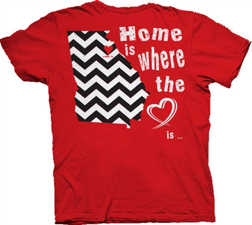 Southern Belle Georgia Bulldogs State Chevron Athens Heart Girlie Bright T Shirt