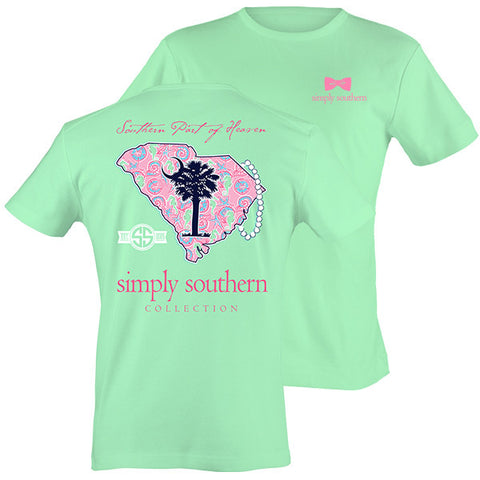 Simply Southern South Carolina Preppy State Tree Pattern T-Shirt