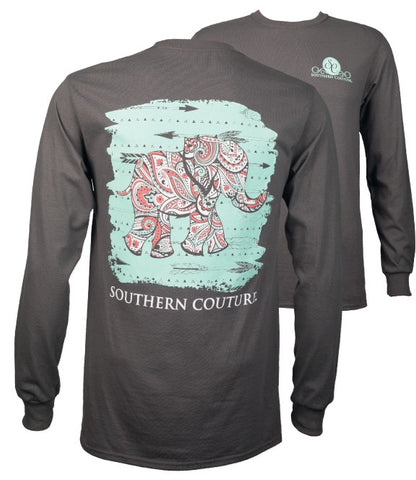 Southern Couture Paisley Elephant Arrows Girlie Long Sleeve T-Shirt - SimplyCuteTees