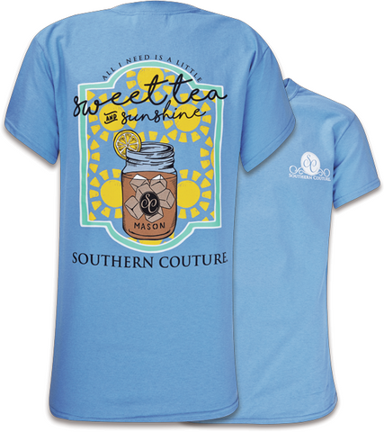 Southern Couture Sweet Tea & Sunshine Mason Jar Girlie Bright T Shirt - SimplyCuteTees