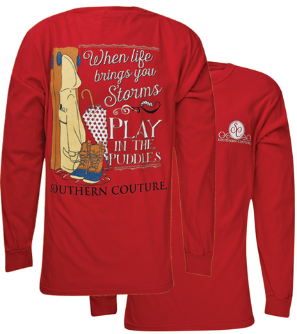 Southern Couture Play In Puddles Comfort Colors Long Sleeve T-Shirt - SimplyCuteTees