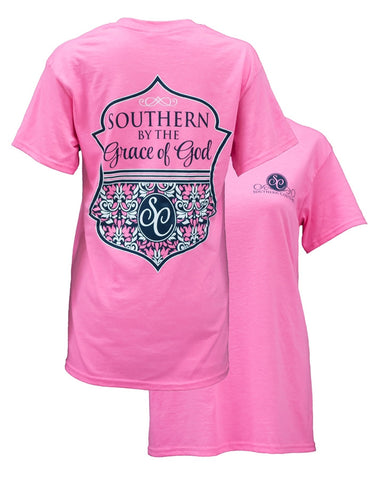 Southern Couture Preppy Southern By The Grace of God Girlie Bright T Shirt - SimplyCuteTees
