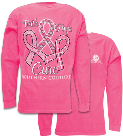 Southern Couture Faith Hope Cure Cancer Comfort Colors Pink Long Sleeve T-Shirt