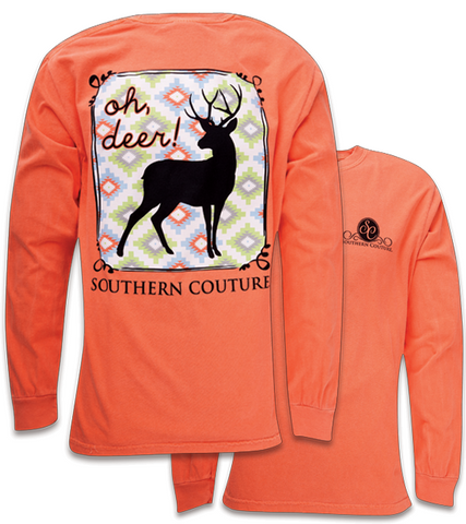 Southern Couture Country Preppy Oh Deer Comfort Colors Long Sleeve T-Shirt