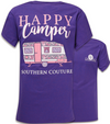 Southern Couture Preppy Happy Camper Lilac Purple T-Shirt - SimplyCuteTees