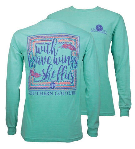 Southern Couture She Flies on Feathers Comfort Colors Long Sleeve T-Shirt - SimplyCuteTees