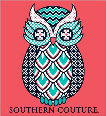 Southern Couture Preppy Geo Owl Chevron Pattern Girlie