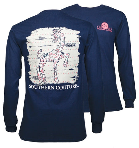Southern Couture Preppy Paisley Giraffe Arrows Long Sleeve T-Shirt - SimplyCuteTees
