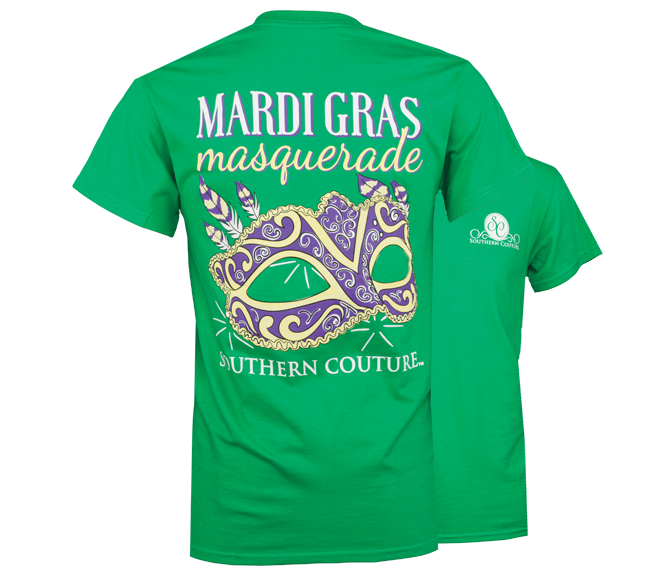Southern Couture Preppy Mardi Gras Mask T-Shirt - SimplyCuteTees