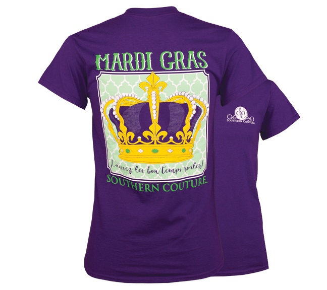 Southern Couture Preppy Mardi Gras Crown T-Shirt - SimplyCuteTees