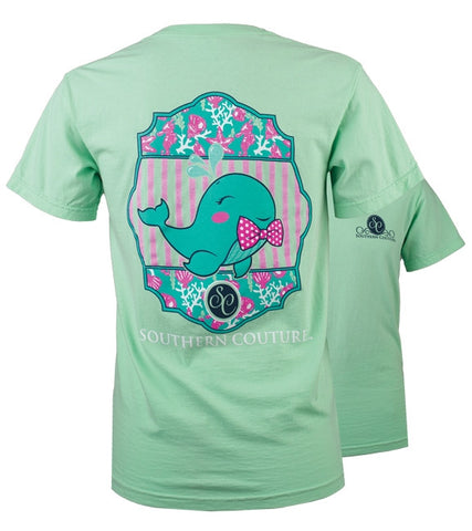 Southern Couture Preppy Walter the Whale Comfort Colors T-Shirt - SimplyCuteTees