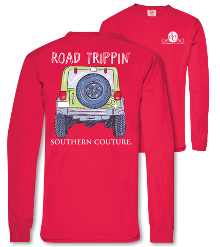 Southern Couture Road Trippin Jeep Comfort Colors Long Sleeve T-Shirt - SimplyCuteTees