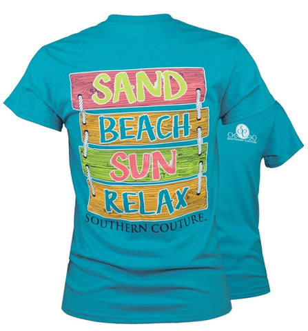 Southern Couture Preppy Sand Beach Sun Sign T-Shirt - SimplyCuteTees