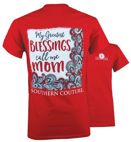 Southern Couture Greatest Blessing Call Me Mom T-Shirt