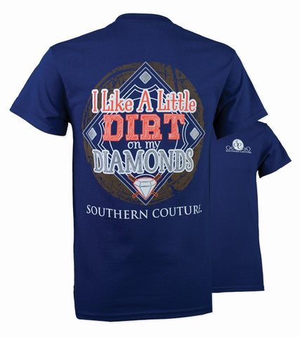 Southern Couture Dirt on My Diamonds Baseball T-Shirt