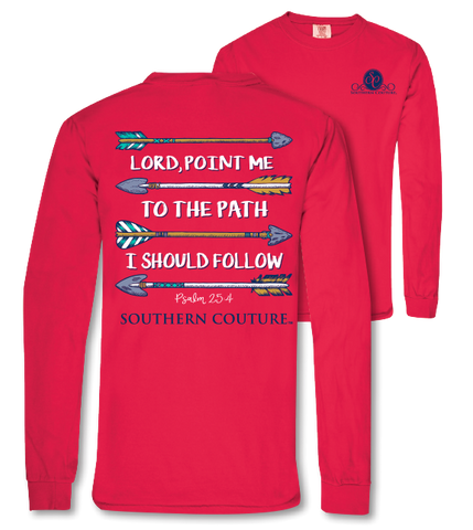 Southern Couture Lord Point Me Arrows Comfort Colors Long Sleeve T-Shirt - SimplyCuteTees