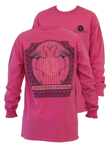 Southern Couture Preppy Flamingo Comfort Colors Crunchberry Girlie Long Sleeve Bright T Shirt - SimplyCuteTees