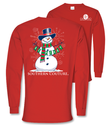 Southern Couture Preppy Christmas Be Merry Snowman Holiday Long Sleeve T-Shirt