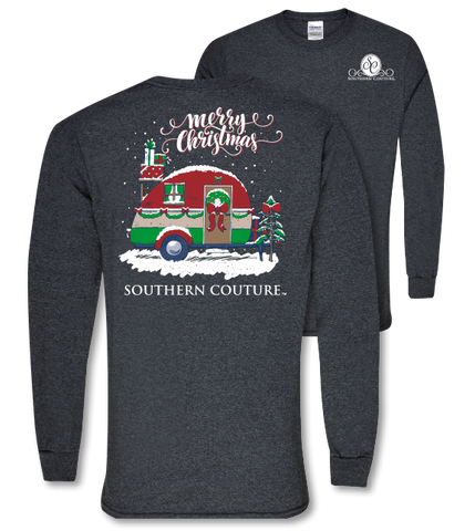 Southern Couture Preppy Christmas Camper Holiday Long Sleeve T-Shirt - SimplyCuteTees
