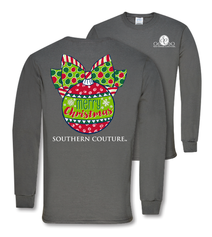 Southern Couture Preppy Christmas Ball Holiday Long Sleeve T-Shirt