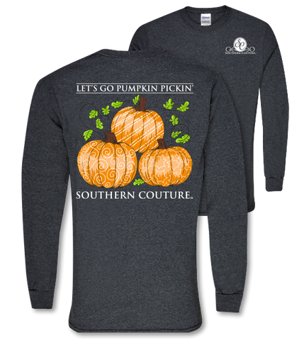 Southern Couture Preppy Pumpkin Pickin Fall Long Sleeve T Shirt - SimplyCuteTees
