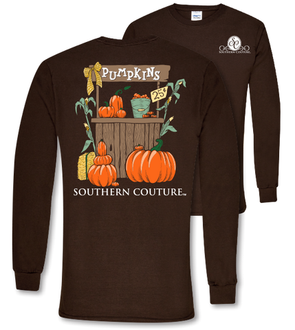 Southern Couture Preppy Pumpkin Stand Fall Long Sleeve T-Shirt