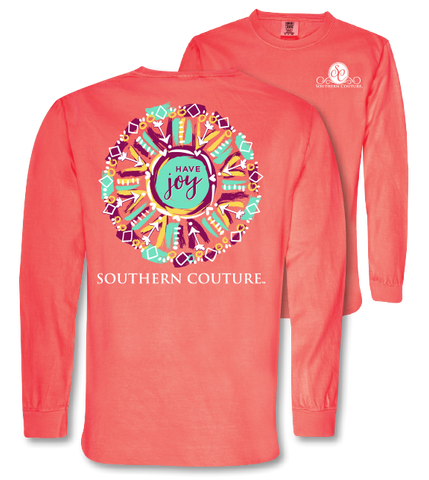 Southern Couture Have Joy Arrows Comfort Colors Long Sleeve T-Shirt