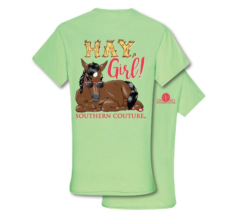 Southern Couture Preppy Hay Girl Horse T-Shirt - SimplyCuteTees