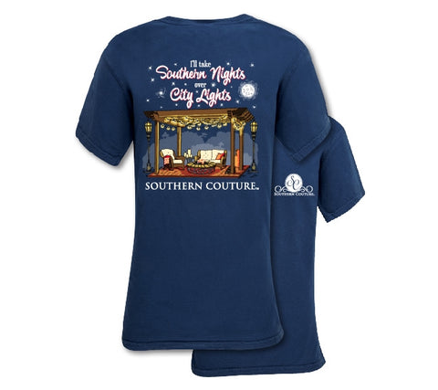 Southern Couture Preppy Southern Nights Comfort Colors T-Shirt - SimplyCuteTees