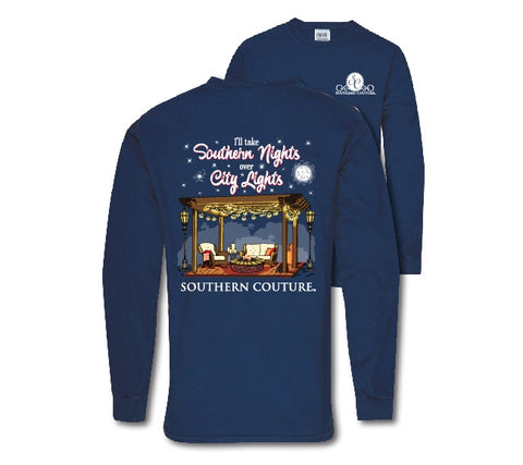 Southern Couture Preppy Southern Nights Comfort Colors Long Sleeve T-Shirt - SimplyCuteTees
